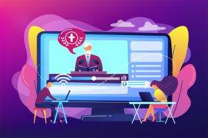 Tiny people, students listening to religious lecture online. Theological lectures, online religious lectures, religious studies course concept. Bright vibrant violet vector isolated illustration
