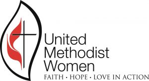 Logo for United Methodist Women and slogan Faith, Hope, Love in Action