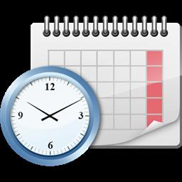 Clock in front of a calendar
