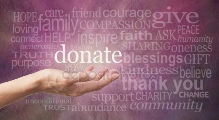 """Purple word wall with a hand palm up under the word """"donate""""."""