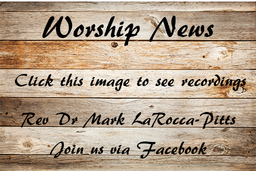 Weathered wooden background about Worship News with a link to the Facebook recordings.